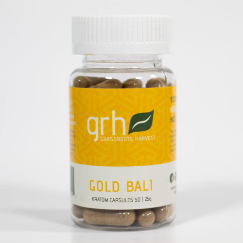 Grassroots Harvest Gold Bali kratom capsules in transparent bottle with yellow and white label.